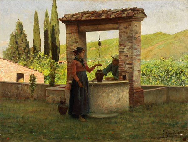 Gioacchino Gamberini : Idillio  - Olio su tela - Auction N.187  - II, XIX AND XX CENTURY PAINTINGS AND SCULPTURES - Casa d'aste Farsettiarte