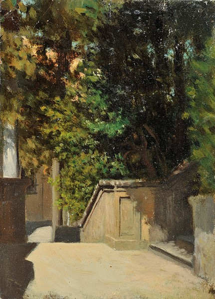 Raffaello Sernesi : Nel parco  - Olio su cartone - Auction N.187  - II, XIX AND XX CENTURY PAINTINGS AND SCULPTURES - Casa d'aste Farsettiarte