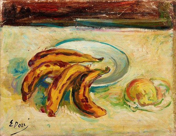 Ennio Pozzi : Natura morta con banane  - Olio su tela - Auction N.194 , XIX AND XX CENTURY PAINTINGS, DRAWINGS AND SCULPTURES - BUY NOW - Casa d'aste  [..]