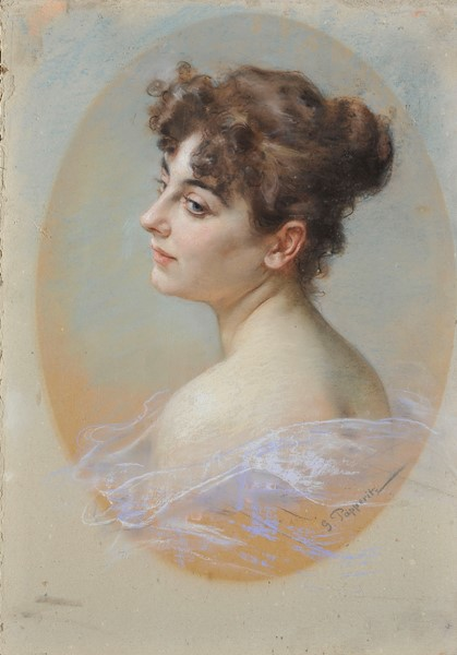 Georg Fritz Papperitz : Figura di donna  - Pastelli su cartone - Auction N.194 , XIX AND XX CENTURY PAINTINGS, DRAWINGS AND SCULPTURES - BUY NOW - Casa d'aste Farsettiarte