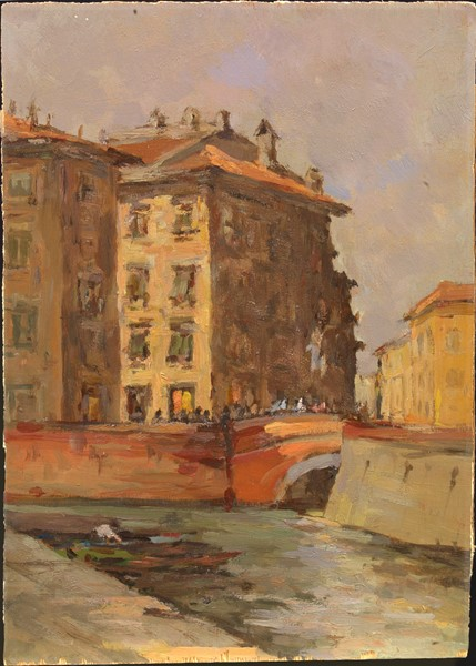 Ignoto del XX secolo : Livorno  - Olio su compensato - Auction N.194 , XIX AND XX CENTURY PAINTINGS, DRAWINGS AND SCULPTURES - BUY NOW - Casa d'aste Fa [..]
