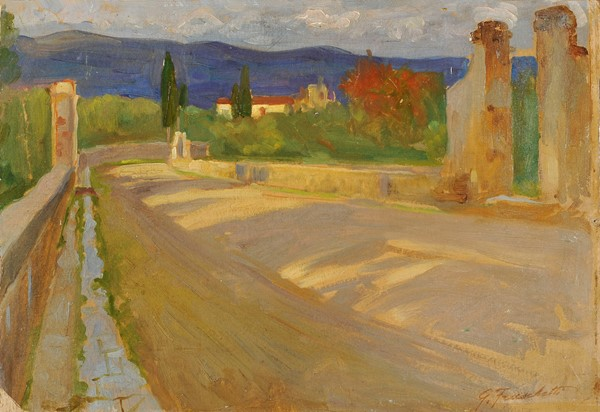 Giuseppe Fraschetti : Strada di campagna  (1900 ca.)  - Olio su cartone - Auction N.194 , XIX AND XX CENTURY PAINTINGS, DRAWINGS AND SCULPTURES - BUY  [..]