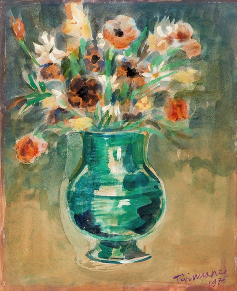 Nino Tirinnanzi : Vaso di fiori  (1975)  - Tecnica mista su cartoncino - Auction N.194 , XIX AND XX CENTURY PAINTINGS, DRAWINGS AND SCULPTURES - BUY NOW  [..]
