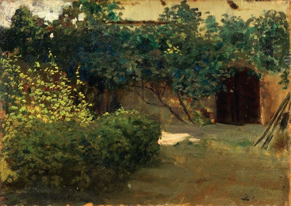 Federico Andreotti : Il giardino della villa  (1906)  - Olio su tavola - Auction N.194 , XIX AND XX CENTURY PAINTINGS, DRAWINGS AND SCULPTURES - BUY NOW - Casa d'aste Farsettiarte