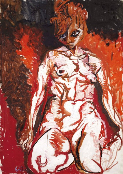 Renato Guttuso : Nudo rosso  (1962)  - Olio su tela - Auction N.193 , MODERN AND CONTEMPORARY ART AND PRINTS - Casa d'aste Farsettiarte