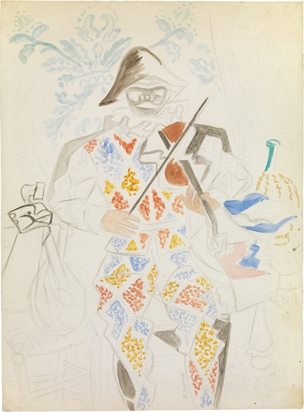 Gino Severini : Arlecchino col violino  (1943 ca.)  - Acquerello e matita su carta applicata su cartoncino - Auction N.188  - I, CONTEMPORARY ART - Casa d'aste Farsettiarte