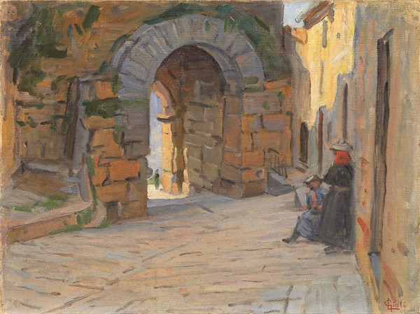 Luigi Gioli : Porta all'Arco, Volterra  - Olio su tela applicata su cartone - Auction N.194 , XIX AND XX CENTURY PAINTINGS, DRAWINGS AND SCULPTURES -  [..]