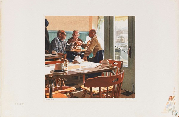 Ralph Goings - Coffee Shop - Acquerello su carta - cm. 26x28,5 (riquadro), cm. 37,6x57,2 (foglio)