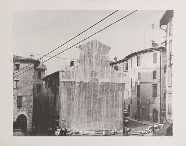 Christo - Due grafiche da «Packet Fountain and Packet Tower, Spoleto, 1968»
