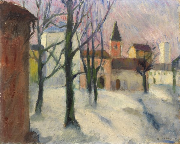 Giovanni Costetti : La neve  - Olio su cartone - Auction N.187  - II, XIX AND XX CENTURY PAINTINGS AND SCULPTURES - Casa d'aste Farsettiarte