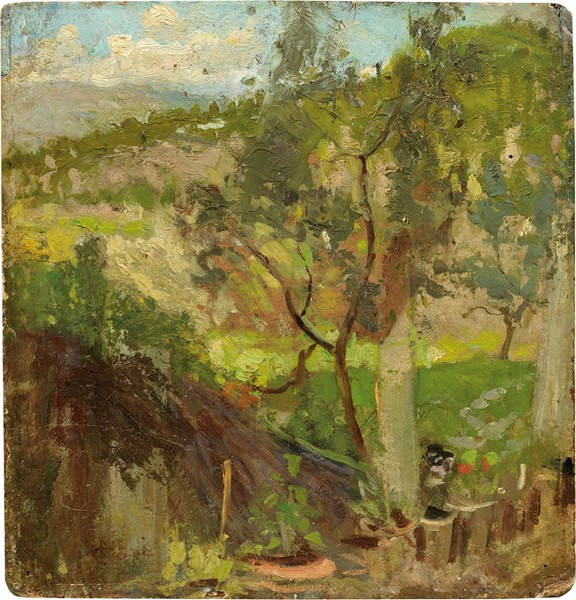 Cesare Ciani : Colline fiorentine  - Olio su cartone - Auction N.187  - II, XIX AND XX CENTURY PAINTINGS AND SCULPTURES - Casa d'aste Farsettiarte