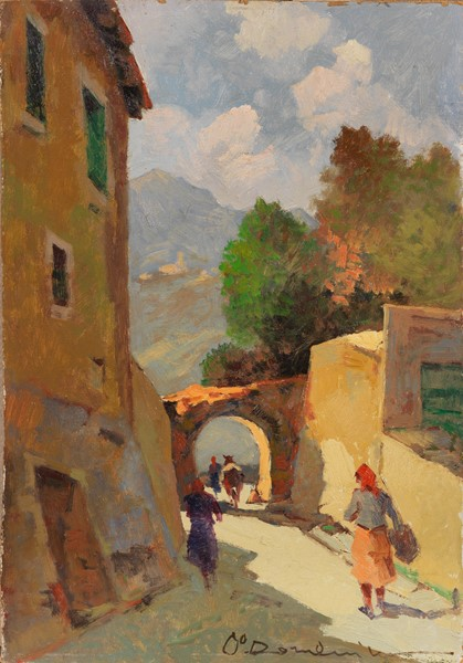 Carlo Domenici : Strada di paese  - Olio su faesite - Auction N.194 , XIX AND XX CENTURY PAINTINGS, DRAWINGS AND SCULPTURES - BUY NOW - Casa d'aste Farsettiarte