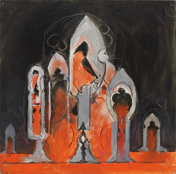 Graham Sutherland : Cattedrale  (1977)  - Olio su tela - Auction N.188  - I, CONTEMPORARY ART - Casa d'aste Farsettiarte