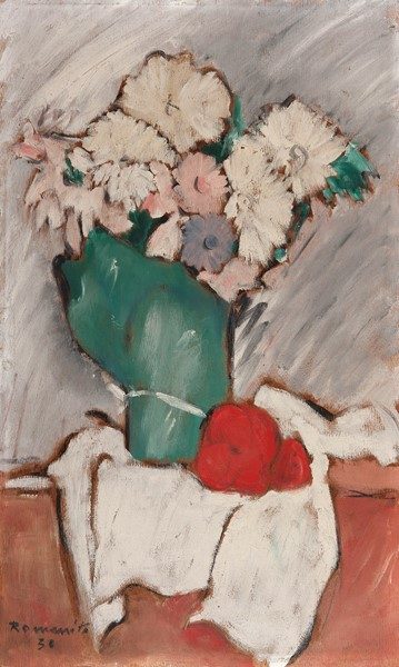 Romano Romiti : Fiori  (1930)  - Olio su tavola - Auction N.187  - II, XIX AND XX CENTURY PAINTINGS AND SCULPTURES - Casa d'aste Farsettiarte