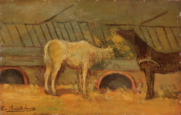 Giovanni Bartolena : Stalla e cavalli  - Olio su tavola - Auction N.187  - II, XIX AND XX CENTURY PAINTINGS AND SCULPTURES - Casa d'aste Farsettiarte