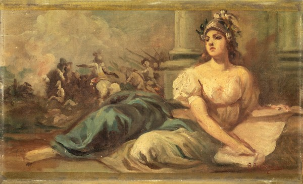 Giovanni Capranesi : Minerva  - Olio su tela applicata su cartone - Auction N.194 , XIX AND XX CENTURY PAINTINGS, DRAWINGS AND SCULPTURES - BUY NOW - Casa d'aste Farsettiarte