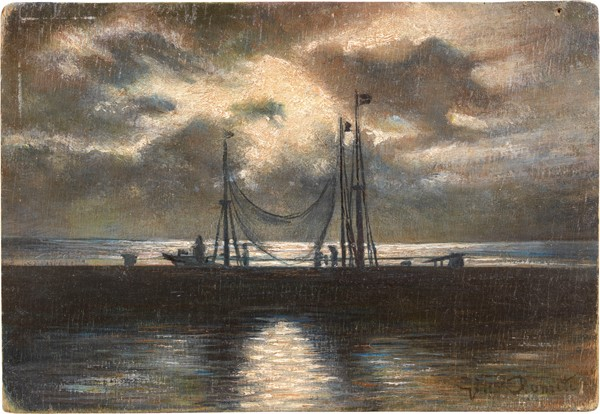 Gino Romiti : Notturno  - Olio su compensato - Auction N.189  - II, XIX AND XX CENTURY PAINTINGS AND SCULPTURES - Casa d'aste Farsettiarte