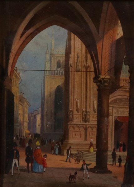 Ignoto fine XIX secolo : Veduta del Duomo di Milano  - Olio su tavola - Auction N.189  - II, XIX AND XX CENTURY PAINTINGS AND SCULPTURES - Casa d'aste Farsettiarte