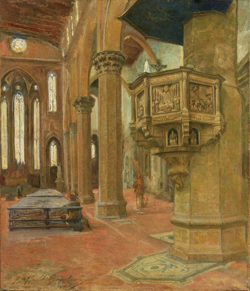 Raffaello Gambogi : Interno di Santa Croce, Firenze  - Olio su tela - Auction N.189  - II, XIX AND XX CENTURY PAINTINGS AND SCULPTURES - Casa d'aste Farsettiarte