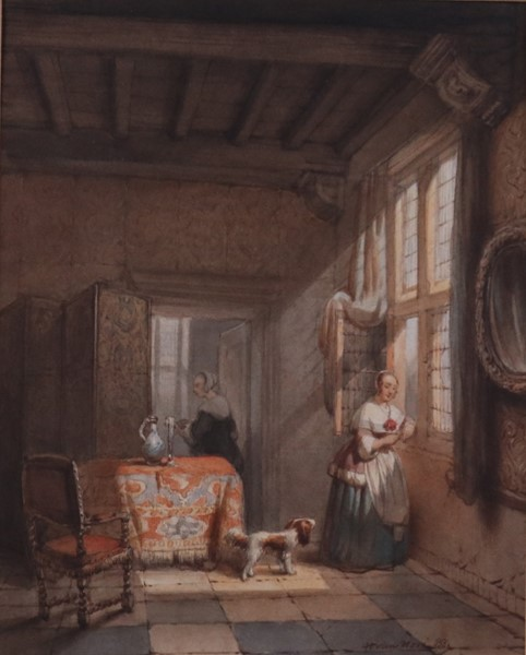 Hubertus Van Hove : Interno  - Acquerello su carta - Auction N.189  - II, XIX AND XX CENTURY PAINTINGS AND SCULPTURES - Casa d'aste Farsettiarte