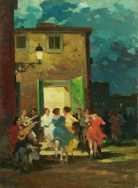 Renato Natali : Festa in famiglia  - Olio su compensato - Auction N.189  - II, XIX AND XX CENTURY PAINTINGS AND SCULPTURES - Casa d'aste Farsettiarte