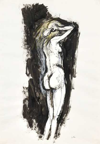 Renato Guttuso : Nudo  (anni Settanta)  - China, pastello e acquerello su cartoncino - Auction N.190  - I, CONTEMPORARY ART - Casa d'aste Farsettiarte