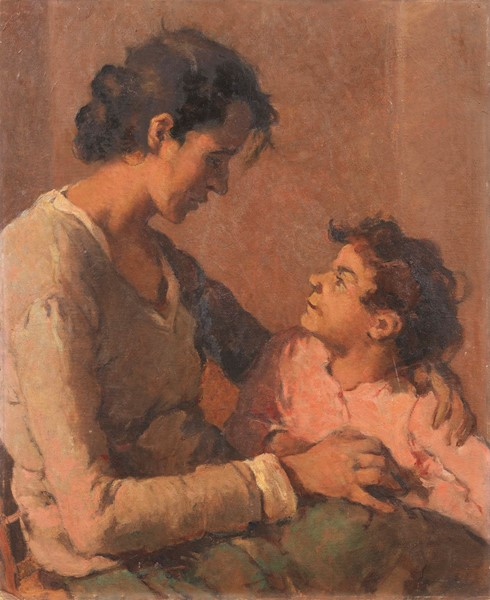 Ludovico Tommasi : Madre e figlio  - Olio su cartone - Auction N.198  - II, XIX and XX century Paintings and Sculptures - Casa d'aste Farsettiarte
