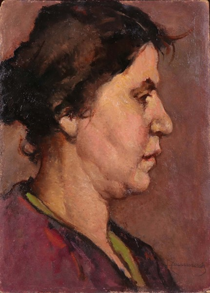 Ludovico Tommasi : Profilo di donna  - Olio su cartone - Auction N.194 , XIX AND XX CENTURY PAINTINGS, DRAWINGS AND SCULPTURES - BUY NOW - Casa d'aste Farsettiarte