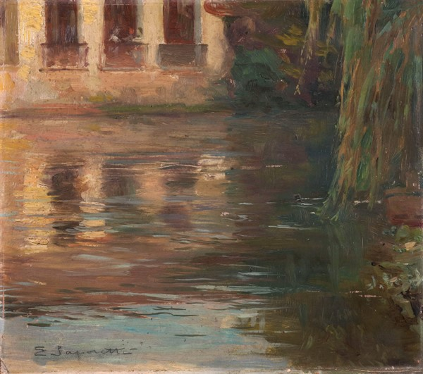 Edgardo Saporetti : Treviso  (1909)  - Olio su cartone - Auction N.198  - II, XIX and XX century Paintings and Sculptures - Casa d'aste Farsettiarte