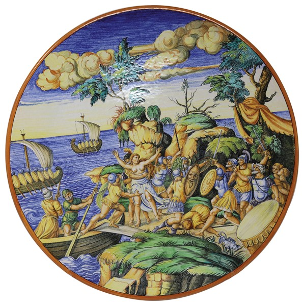 Grande piatto da parete in maiolica policroma  - Auction N.197 , A COLLECTION OF TUSCAN PORCELAIN - Casa d'aste Farsettiarte