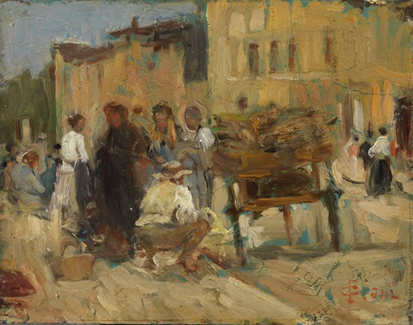 Cesare Ciani : Mercatino  - Olio su cartone - Auction N.198  - II, XIX and XX century Paintings and Sculptures - Casa d'aste Farsettiarte
