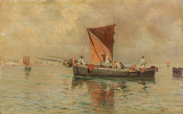 Attilio Pratella : Pesca al tramonto  - Olio su tavola - Auction N.194 , XIX AND XX CENTURY PAINTINGS, DRAWINGS AND SCULPTURES - BUY NOW - Casa d'aste Farsettiarte