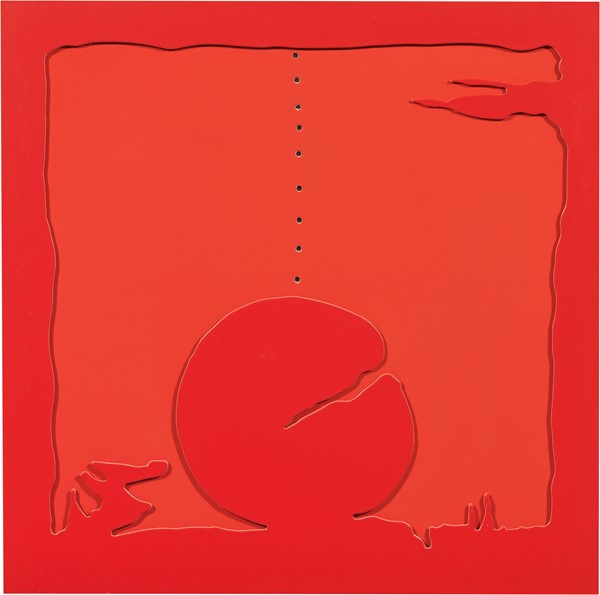 Lucio Fontana : Concetto Spaziale - Teatrino (rosso)  (1968)  - Quattro fogli di cartone ritagliati e incollati assieme per formare un rilievo, multiplo, es. 17/75 - Auction N.195  - II, MODERN AND CONTEMPORARY ART PART II - Casa d'aste Farsettiarte