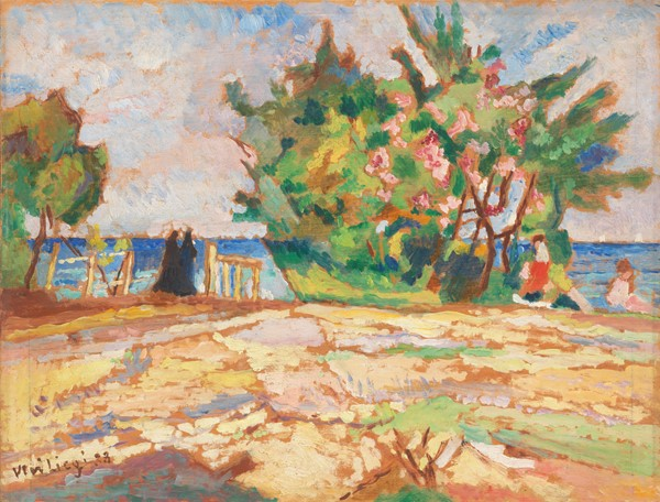 Ulvi Liegi : I giardini degli oleandri  (1933)  - Olio su compensato - Auction N.198  - II, XIX and XX century Paintings and Sculptures - Casa d'aste Farsettiarte