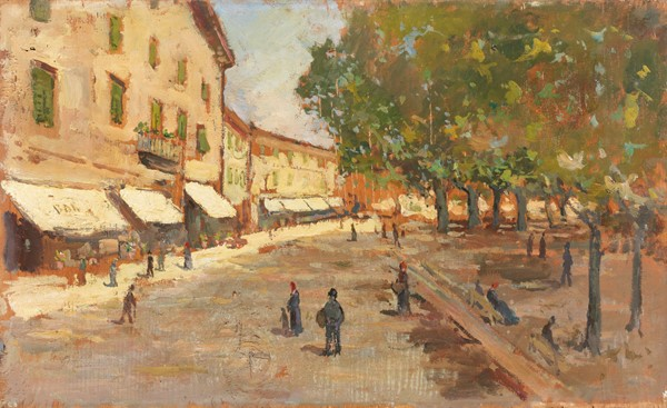 Giovanni Bartolena : Piazza di Cascina Bassa  - Olio su tavola - Auction N.198  - II, XIX and XX century Paintings and Sculptures - Casa d'aste Farsettiarte