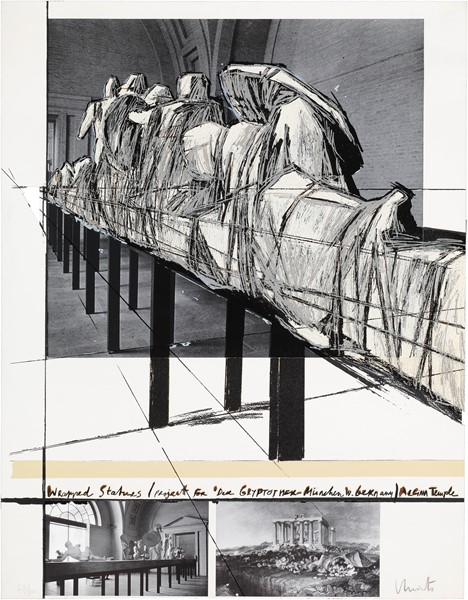 Christo - Wrapped Statues. Project for the Glyptotec