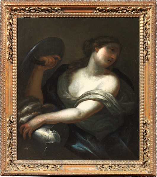Francesco Botti (attr. a) : Figura allegorica femminile con elmo e scudo  - Olio su tela - Auction N.205  - I, Important Old Masters Paintings - Casa d'aste Farsettiarte