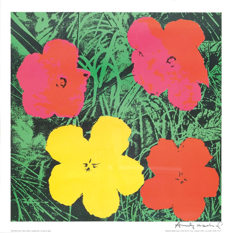 andy warhol flowers serigrafia a colori cm 70x70. Black Bedroom Furniture Sets. Home Design Ideas
