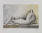 Henry Moore - Reclining Figure Back - Acquaforte e acquatinta, es. 52/100 - cm. 16,2x24,5 (lastra), cm. 65x46 (carta)
